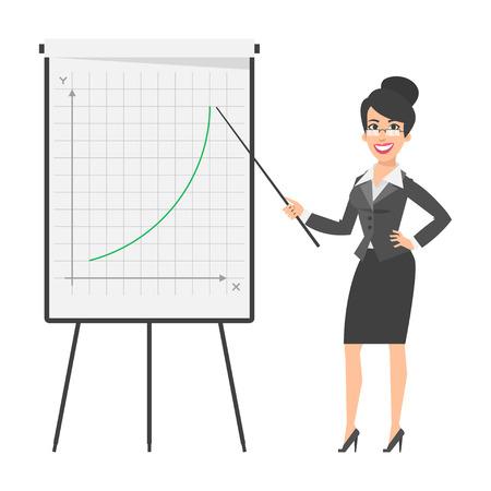 Businesswoman indique le flip chart et souriant