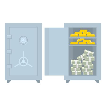 caja fuerte: Caja cerrada abierta con el dinero y el oro
