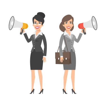 Two businesswomen holding speakers and smiling Illustration