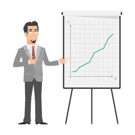 flipchart: Businessman points on flipchart
