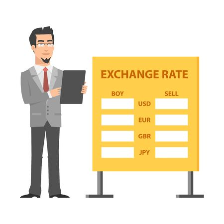 Businessman standing near exchange and holds tablet Vector