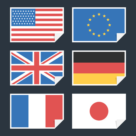 Flags of countries with curved edge Vector