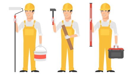 Builder holding instruments hammer roller level Illustration