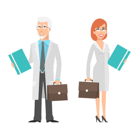 scientist woman: Elderly scientist and young woman holding suitcase Illustration