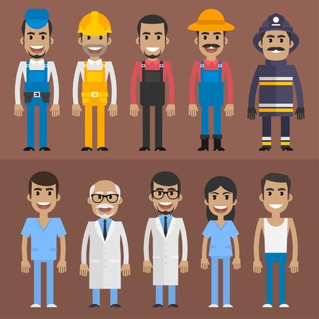 gruppe von menschen: Gruppe Menschen builder Doktorkrankenschwester Feuerwehrmann Bauer