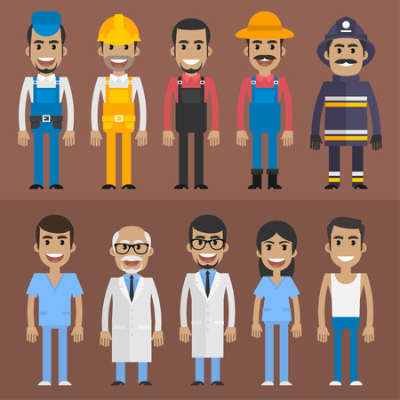 Group people builder doctor nurse fireman farmer
