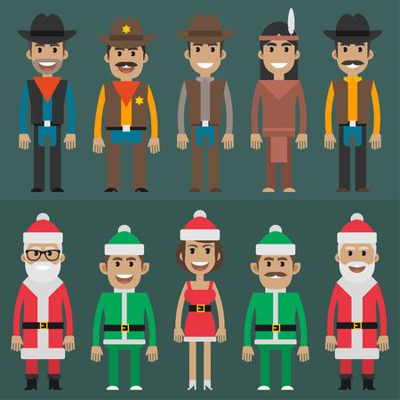 gruppe von menschen: Gruppe Menschen Cowboy-Sheriff-Weihnachtsmann-gnome