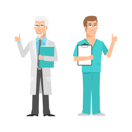 mathematician: Males scientist and doctor showing thumbs up