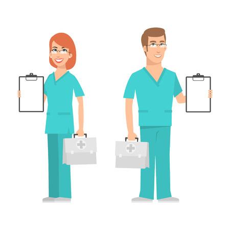 看護婦と医師のスーツケースを押しながら笑みを浮かべて  イラスト・ベクター素材