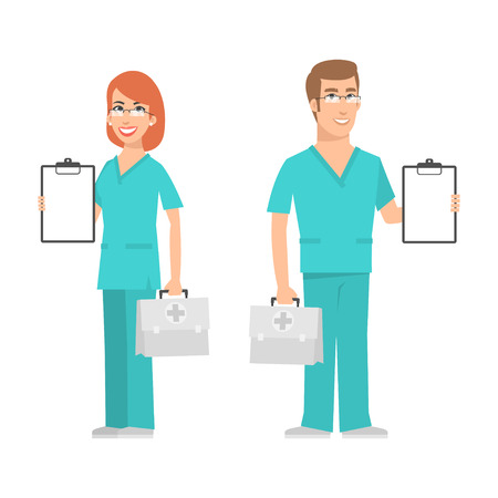 vector cartoons: Nurse and doctor holding suitcase and smiling