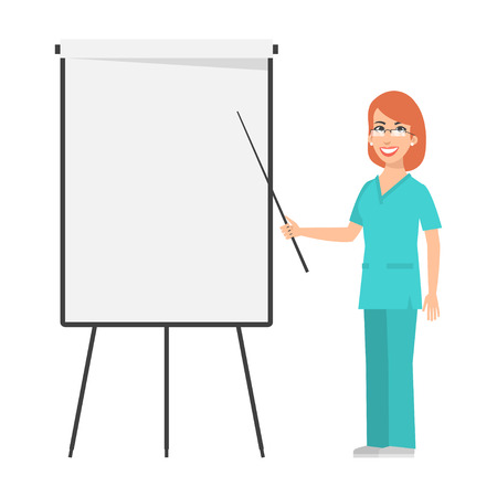 Redhead nurse points to flip chart