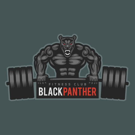 muscular build: Emblem panther bodybuilder lifting barbell and growls