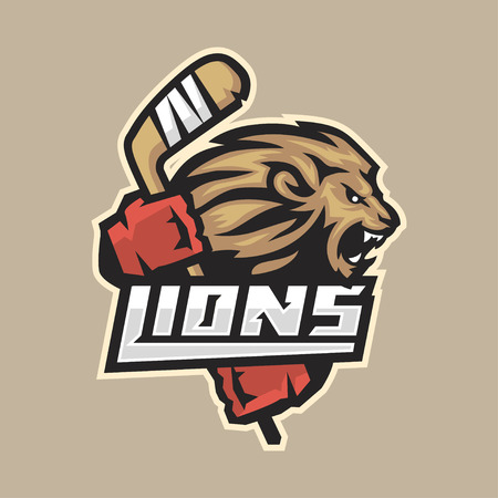 head of animal: Hockey emblem ferocious lion with stick