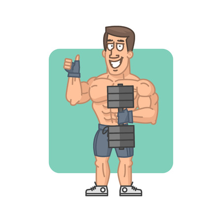 masculinity: Bodybuilder holding dumbbell and showing thumbs up Illustration