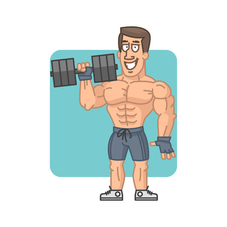 health cartoons: Bodybuilder holding dumbbell and smiling