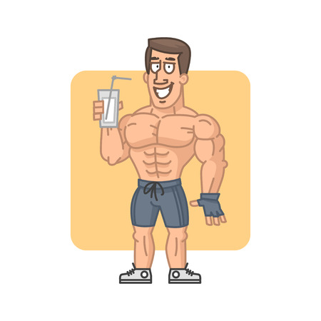 masculinity: Bodybuilder holding glass cocktail protein