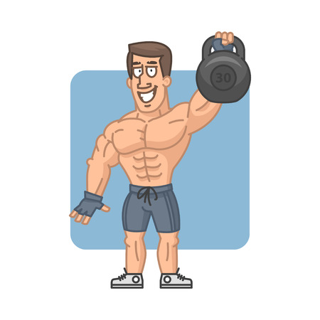 muscular build: Bodybuilder raises kettlebell and smiling Illustration