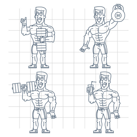 steroids: Doodle bodybuilder holding kettlebell dumbbell cocktail Illustration