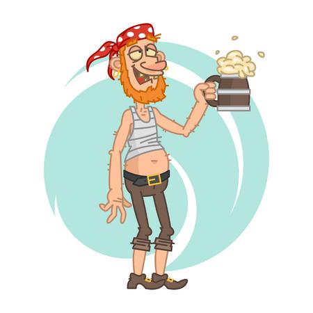 uomo rosso: Pirata ubriaco tenendo boccale di birra Vettoriali