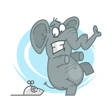 Elephant frightened of mechanical mouse