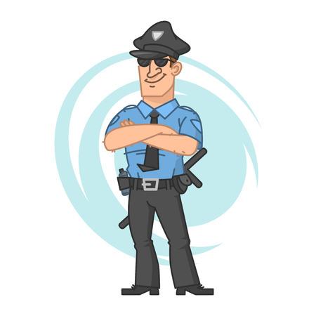 seguridad en el trabajo: Policía cruzaron las manos y sonriendo Vectores