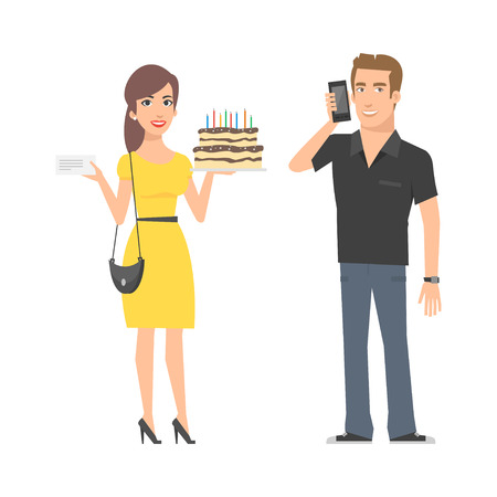 hand holding: Girl with cake and man with phone