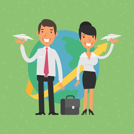 paper airplane: Businessman and businesswoman holding paper airplanes Illustration