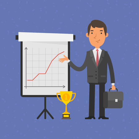 flipchart: Businessman points on flip-chart with graph