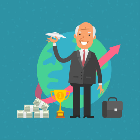 cartoon worker: Old man businessman holding paper airplane