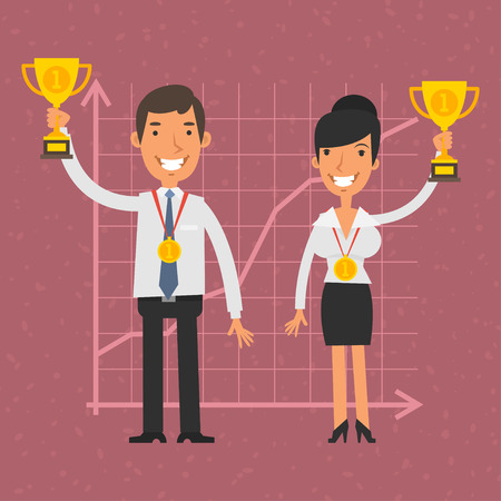 trophy: Businessman and businesswoman holding cup