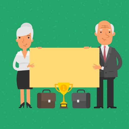 blank poster: Old businessman and businesswoman holding blank poster Illustration