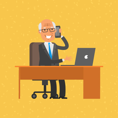 old office: Old businessman talking on phone Illustration
