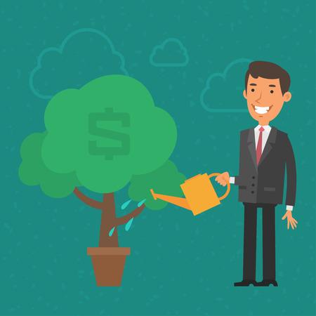 business money: Concept businessman watering money tree Illustration