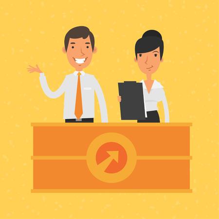 recepcion: El hombre y la mujer gerente y la recepción Vectores