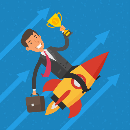 cartoon fire: Businessman flying on rocket and keeps cup