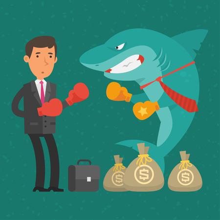 between: Boxing match between businessman and shark business