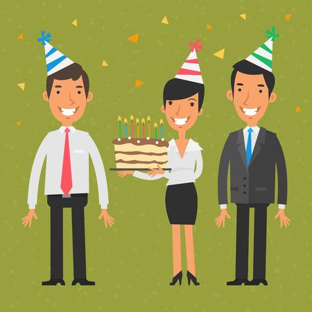 hombres ejecutivos: equipo de negocios y cumpleaños