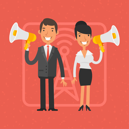 business man vector: Businessman and businesswoman holding megaphone and smile