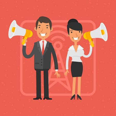 megafono: Hombre de negocios y empresaria que sostiene el megáfono y la sonrisa