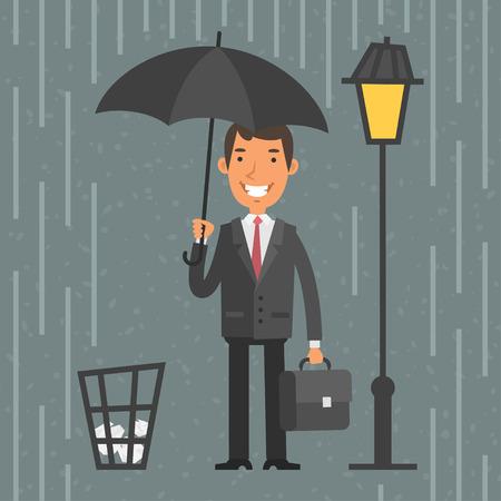 uomo sotto la pioggia: Imprenditore in piedi con l'ombrello in pioggia