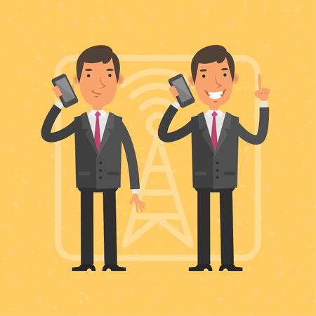 telefono caricatura: Hombre de negocios hablando por teléfono móvil