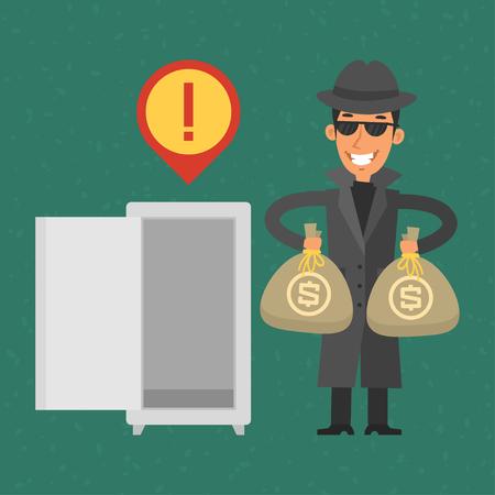 robo: Ladrón robó dinero de la caja fuerte Vectores
