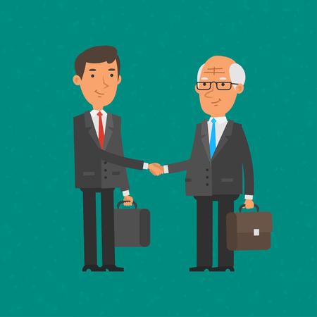 anciano: Hombre de negocios agitar Jóvenes y viejos manos Vectores