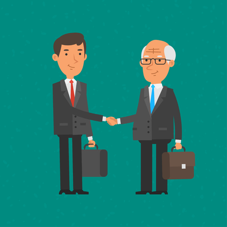 teamwork cartoon: Young and old businessman shake hands