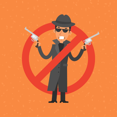 extortion: Angry gangster holding gun Illustration