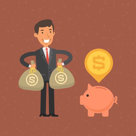 stock vector: Businessman putting money in piggy bank