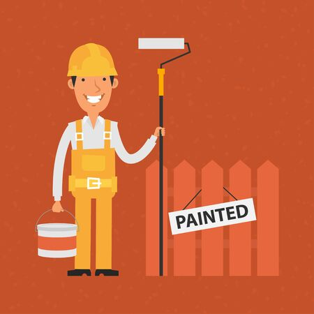 painter: Builder holding roller and bucket of paint