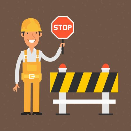Builder holding stop sign and smiling 일러스트
