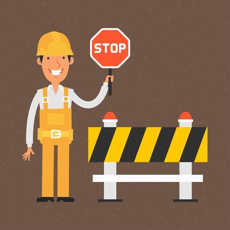 Builder holding stop sign and smiling Illustration