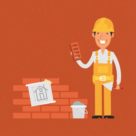 trowel: Builder holding trowel and brick